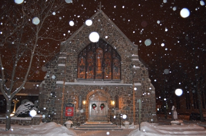 christmas-eve-outside-of-church-with-snow-steve-miller